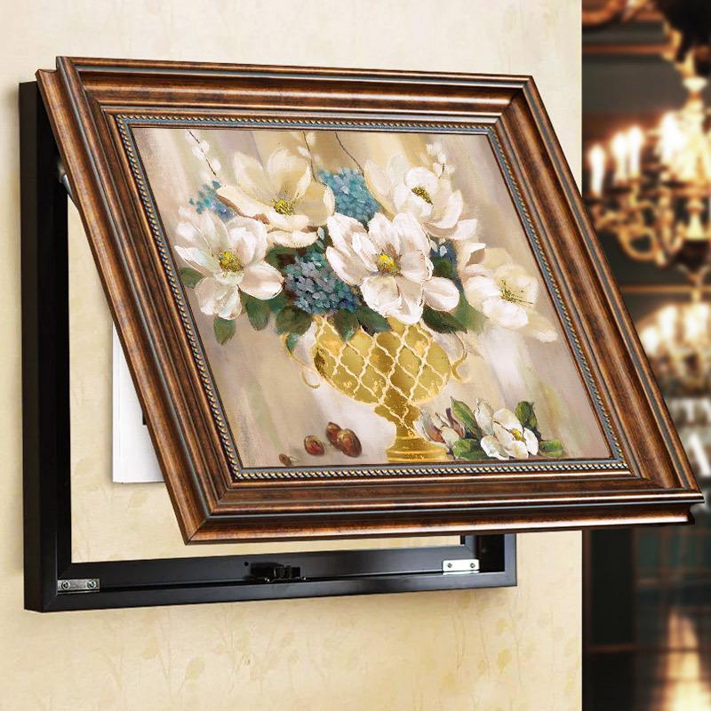 美式电表箱装饰画可推拉遮挡电闸盒弱电源配电箱客厅液压挂画墙画