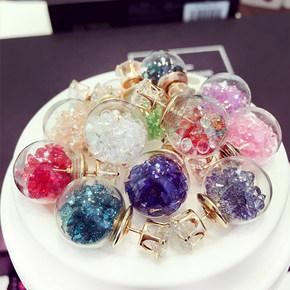 <b>[新品]</b>玻璃球镶钻皇冠耳钉
