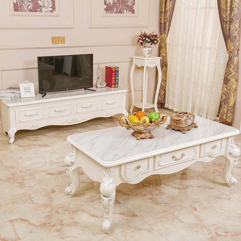 欧式大理石茶几简约 客厅实木小户型茶几电视柜组合套装 现代简约