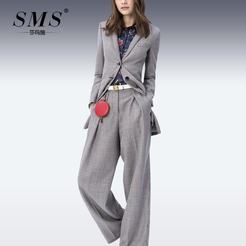 春季新款休闲格子西装女套装中长款西服直筒西裤欧美时尚女装春秋
