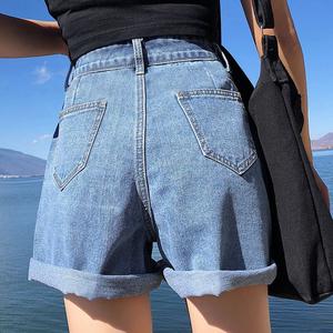 宽松高腰牛仔短裤女夏2019新款韩版显瘦阔腿网红a字热裤潮ins外穿