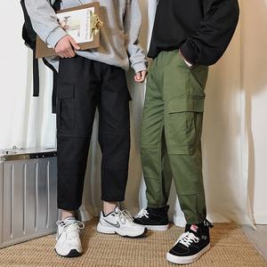 2019秋季bt365注册_bt365.com_bt365网站打开不了韩版潮流工装裤多口袋宽松百搭直筒九分休闲裤男裤子