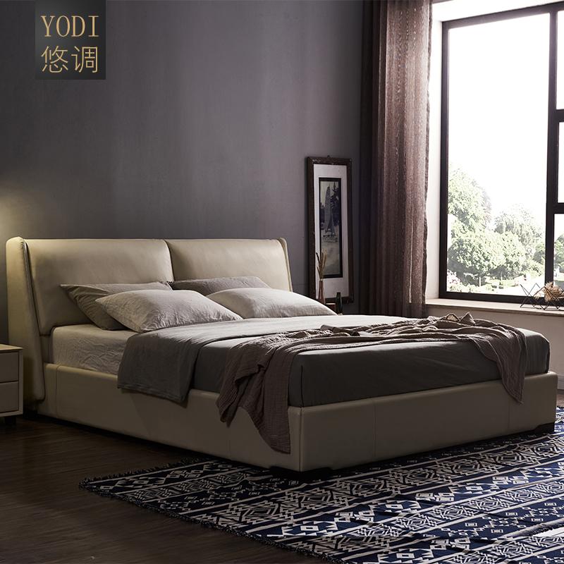 皮床真皮床简约现代小户型婚床1.8米1.5北欧主卧双人高箱储物软床