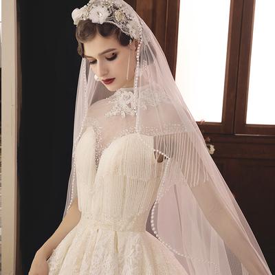婚纱2018新款宫廷复古香槟色抖音大拖尾公主梦幻奢华显瘦新娘