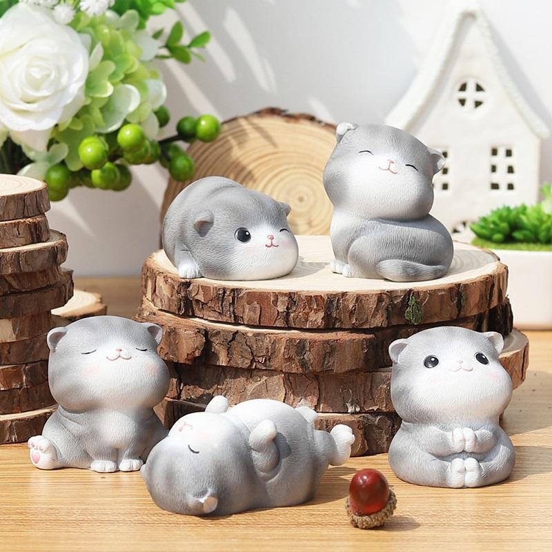毕业送闺蜜女可爱的小饰品猫咪树脂摆件迷你日式生日礼物女生桌面