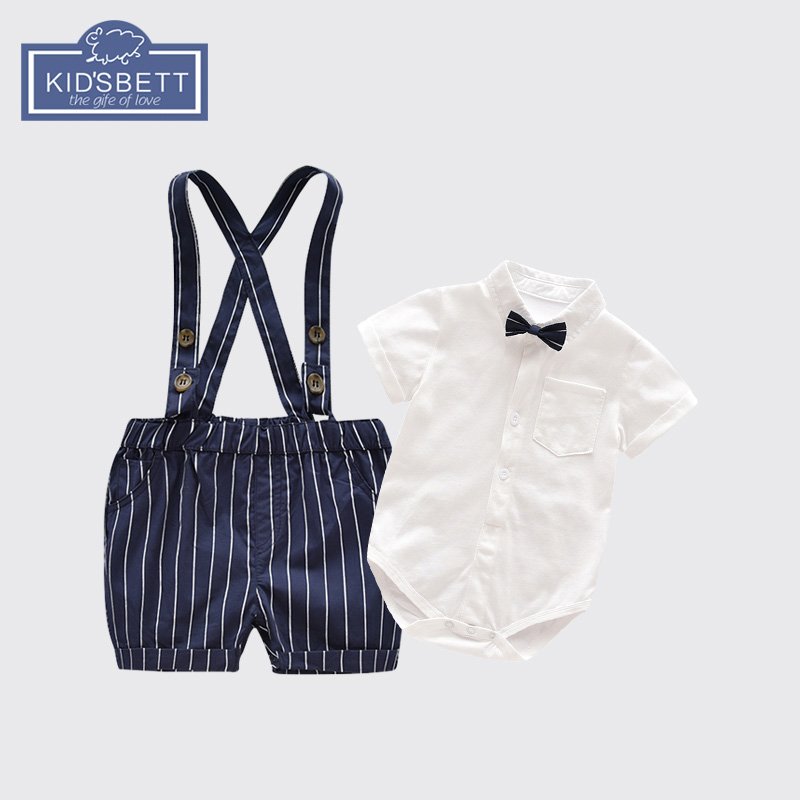 男童夏装2018新款男宝宝帅气绅士哈衣婴儿背带裤套装礼服0-1-2岁