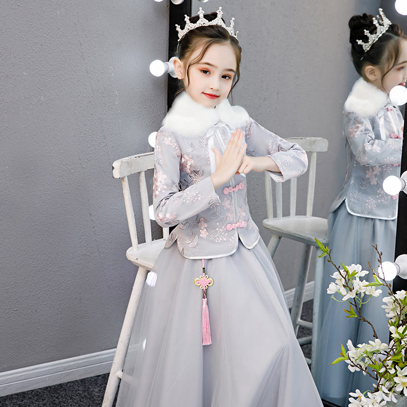 女童汉服过年拜年服冬装中国风儿童唐装秋冬旗袍女孩冬季古装超仙