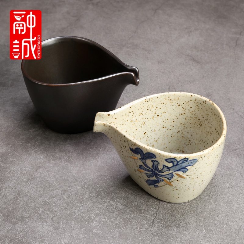 Tea set reasonable ceramic cup Tea ware thickening coarse pottery retro points heat - resistant kung fu Tea Tea accessories GongDaoBei