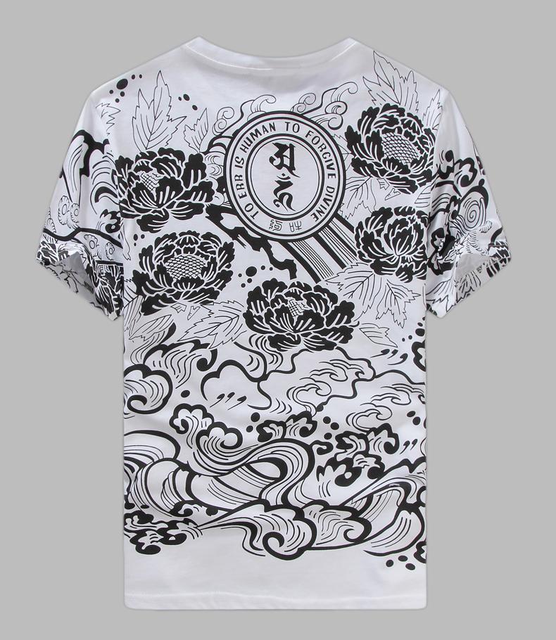 貅莲花满背纹身短袖t恤日系价格质量 哪个牌子比较好