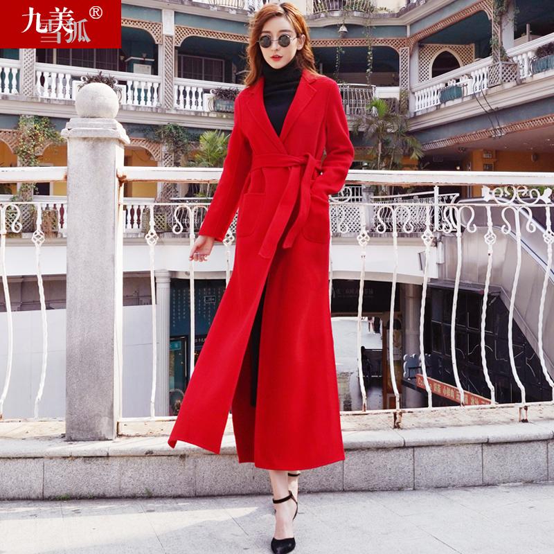 2018新款女装秋装双面呢子毛呢无羊绒过膝大衣超长中长款外套红色
