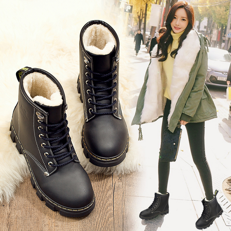2017 new Martin boots female British style cotton-padded Korean wild warm autumn and winter snow boots flat shoes boots