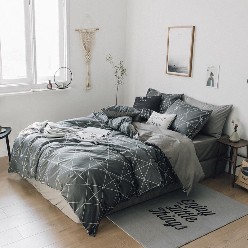 床上四件套全棉纯棉床单三件套简约学生宿舍1.8m床韩式双人单人男