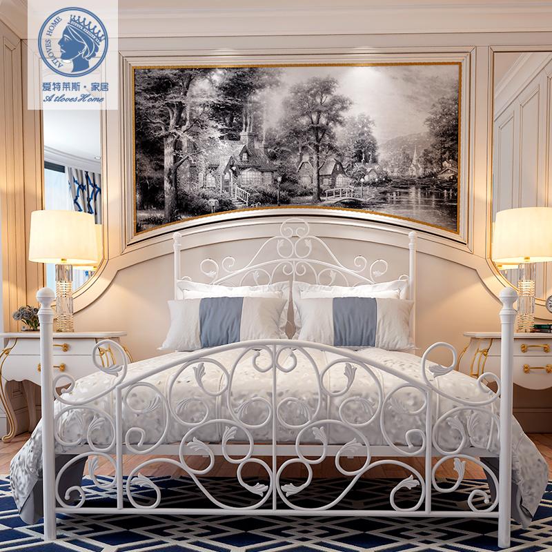 单人铁艺床 双人床现代简约成人铁床1.8 1.5米欧式环保女孩公主床