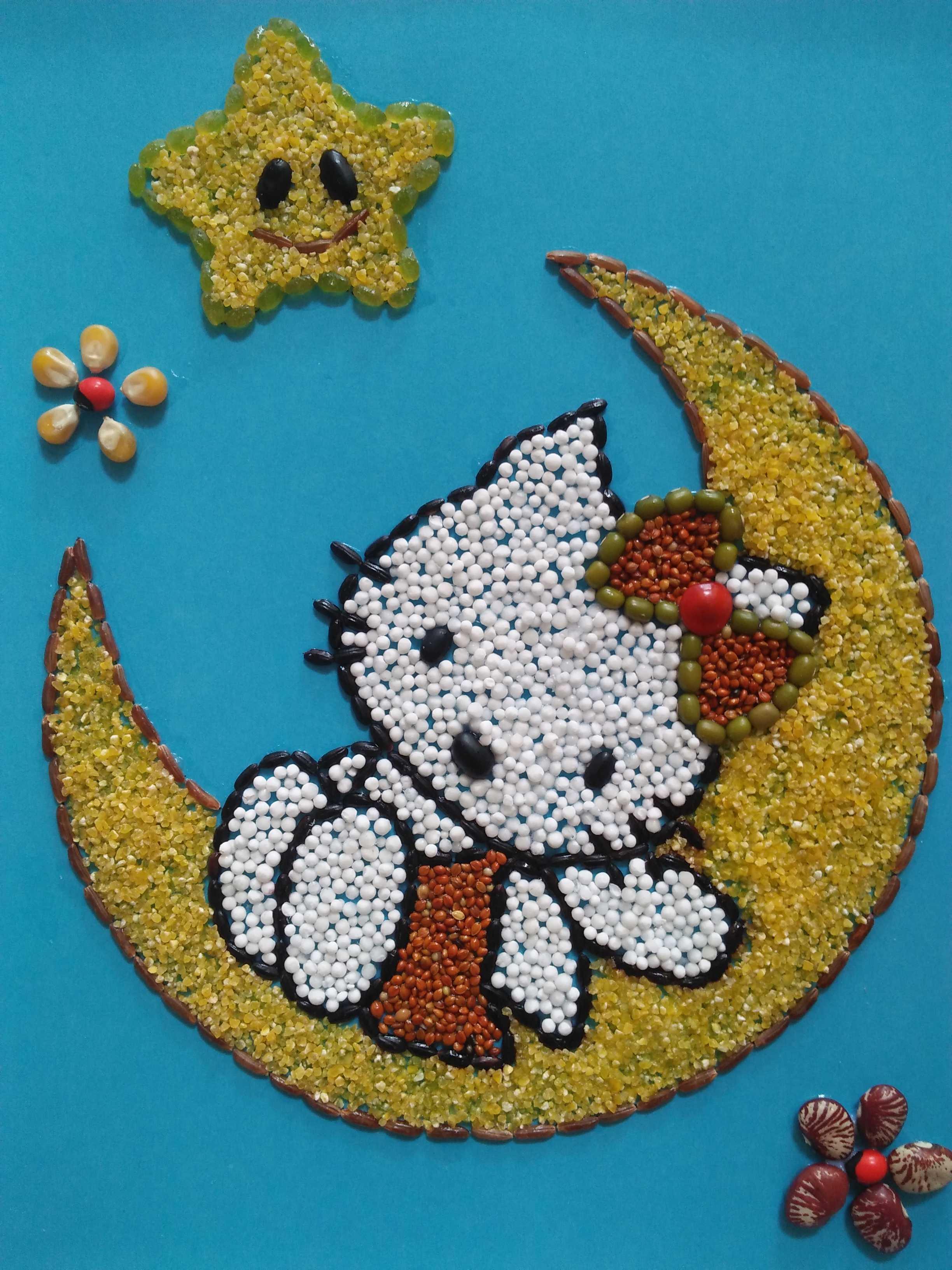 包邮儿童手工制作粮食画幼儿创意diy种子豆豆粘贴画 月亮猫a4相框