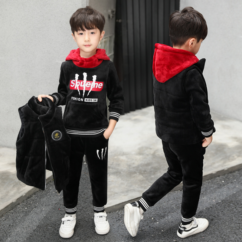 童装男童冬装三件套金丝加绒卫衣套装2019年新款大儿童秋冬季加厚