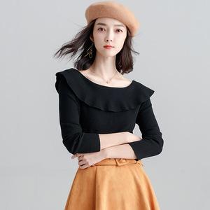 2018秋冬新款韩版女装荷叶边一字领毛衣气质优雅打底女上衣针织衫