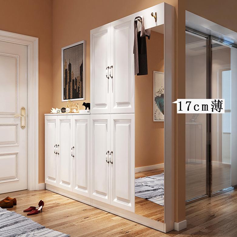 定制超薄鞋柜17cm门口客厅北欧省空间简约现代鞋架特价玄关门厅柜