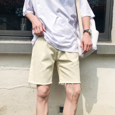 Demin Shorts Male Korean Style Straight Wild Super Fire Cec Pants Men Jeans 684600