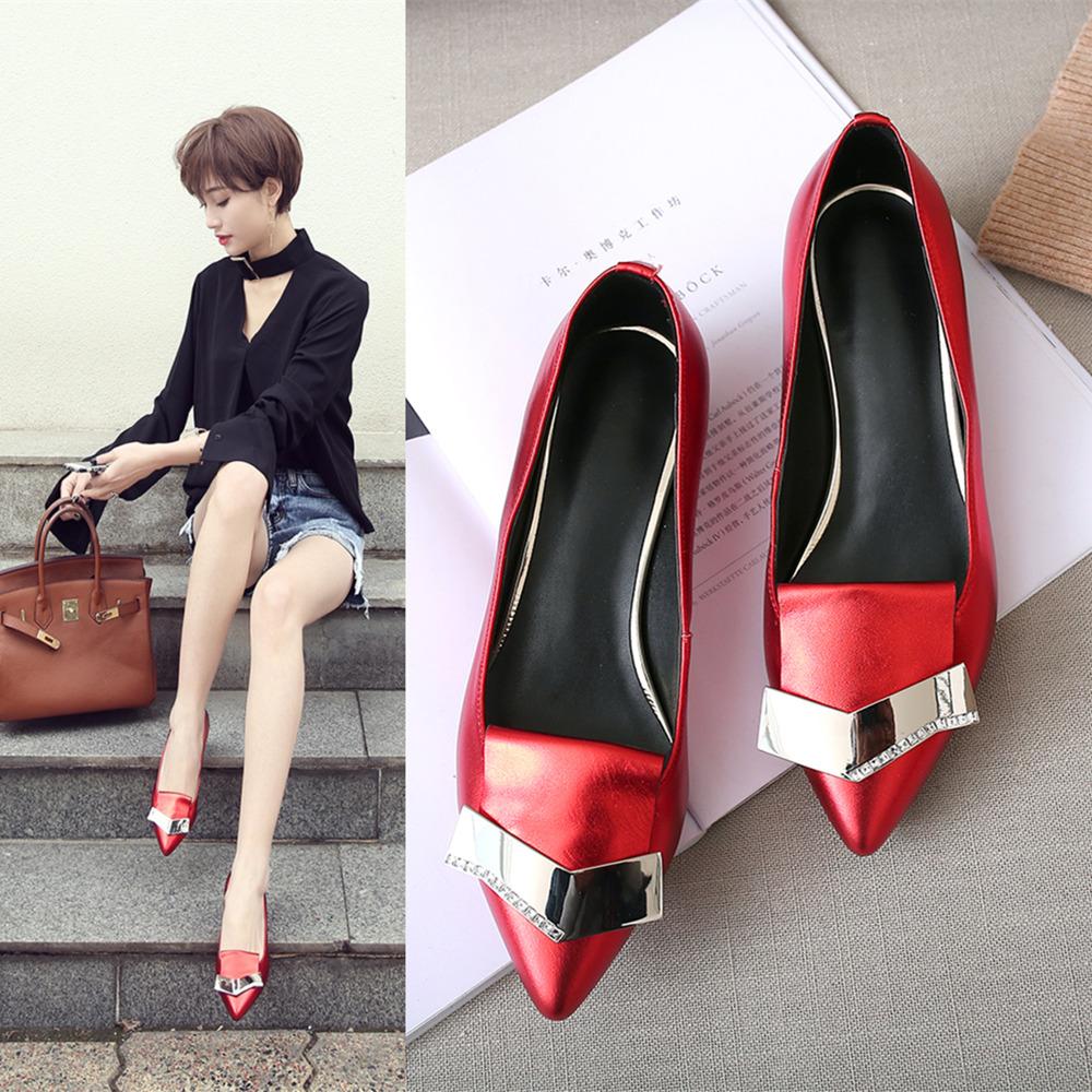 平底鞋女秋季新款真皮单鞋红色婚鞋银色平跟瓢鞋尖头四季鞋子女鞋
