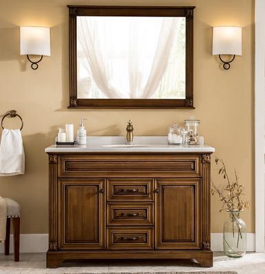 欧唯曼 美式浴室柜橡木组合洗漱台盆实木落地柜洗脸盆卫生间镜柜