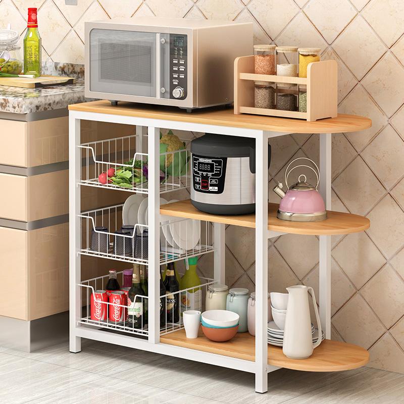厨房置物架落地多层收纳架子烤箱调味料微波炉锅碗架储物架碗柜子