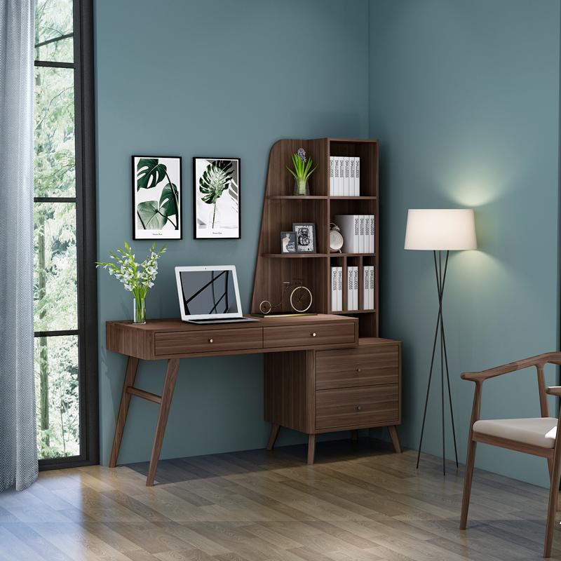 简约实木家用书桌电脑桌一体式书桌书架书柜组合学生写字作业桌