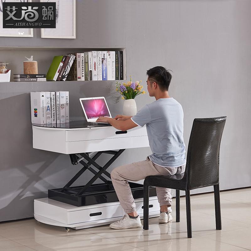 多功能茶几餐桌两用客厅电动升降智能家具钢化玻璃小户型折叠茶几