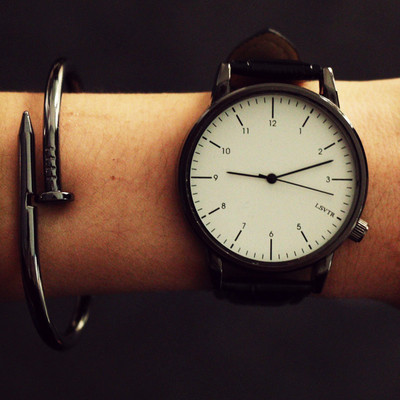 Watch female student Korean fashion trend brief big dial male watch belt female watch couple watch pair