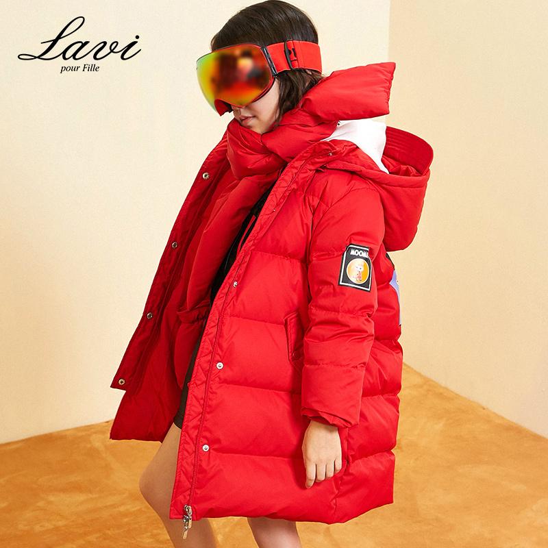 女童羽绒服2018冬装新款儿童中大童中长款韩版加厚外套送手套围脖
