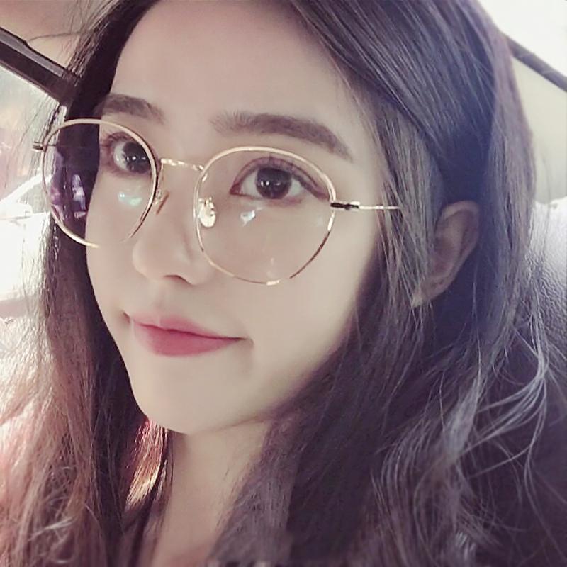 网红款眼镜框女韩版潮ins素颜镜近视有度数复古韩国文艺圆脸眼睛