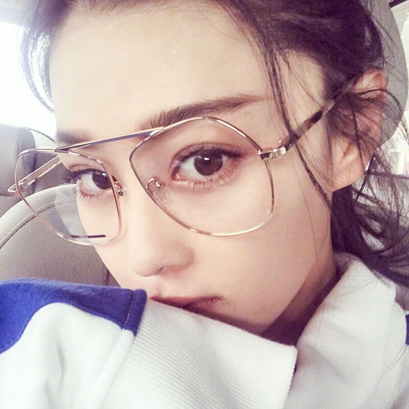 于文文同款眼镜女近视有度数防辐射蓝光平光大框金属圆脸素颜镜框