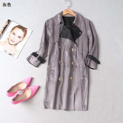 108774 Women's winter lapel double-breasted long-sleeved trench coat