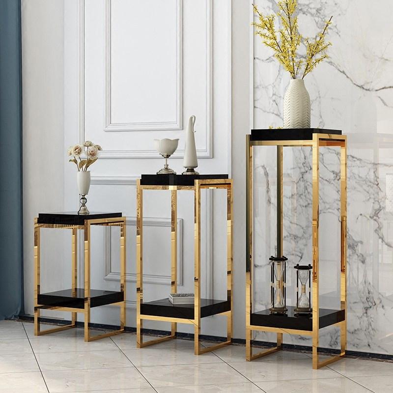 客厅室内金色花架轻奢不锈钢阳台铁艺多层金属落地式单个边几烤漆