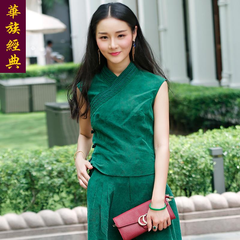 华族经典真丝香云纱唐装套装女复古纯绿色中国风旗袍上衣中式女装