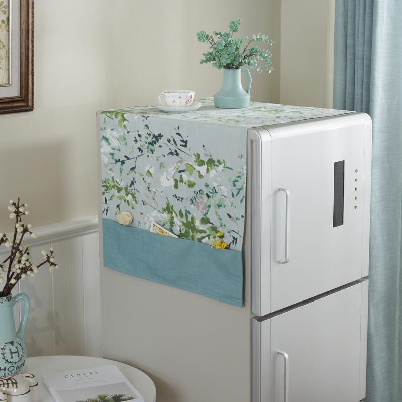 新中式电冰箱对开门防尘罩田园棉麻布艺单双门口袋搭帘洗衣机盖巾