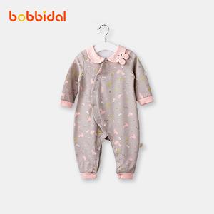 婴儿连体衣服纯棉长袖潮服哈衣秋装0-3岁新生儿女宝宝爬服外出装