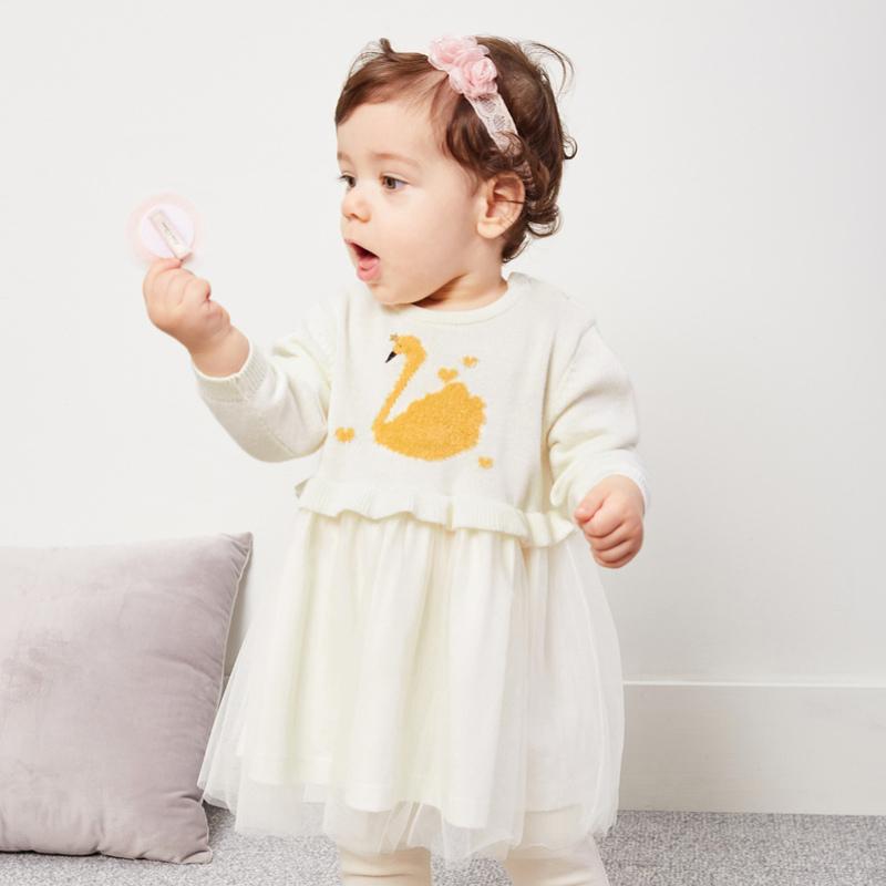 迷你巴拉巴拉女婴童连衣裙2018秋冬新款儿童礼服长裙长袖加厚裙子