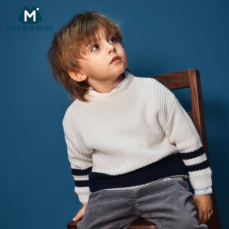 迷你巴拉巴拉男童加绒毛衣2018冬装新款针织衫宝宝套头保暖毛衫