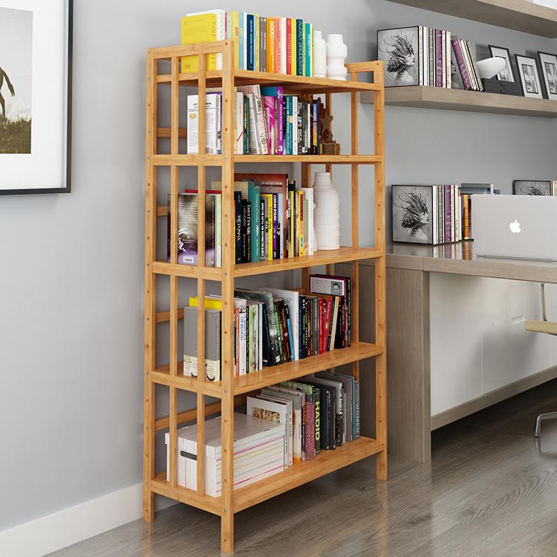 竹雅轩厨房置物架微波炉架书架落地多层实木家用烤箱架收纳储物架