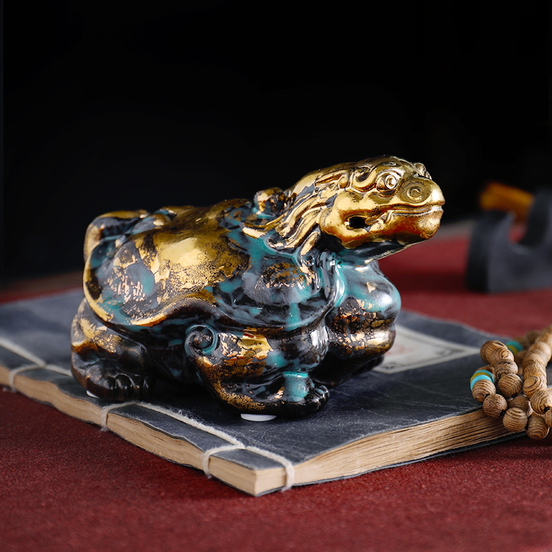 Oriental clay ceramic animal furnishing articles bronze color series checking crafts office desktop decoration/dragon turtle