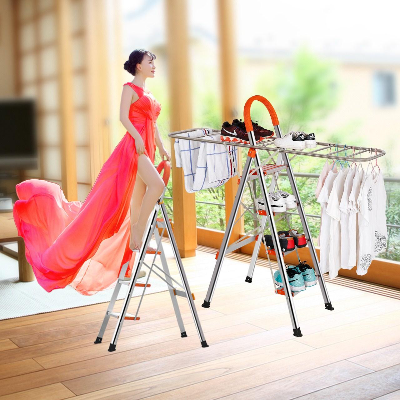 创步新款不锈钢衣架型多功能折叠梯人字梯家用梯楼梯梯子