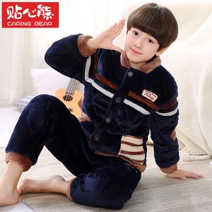 秋冬季加厚款三层夹棉儿童睡衣法兰绒珊瑚绒男童宝宝家居服中大童