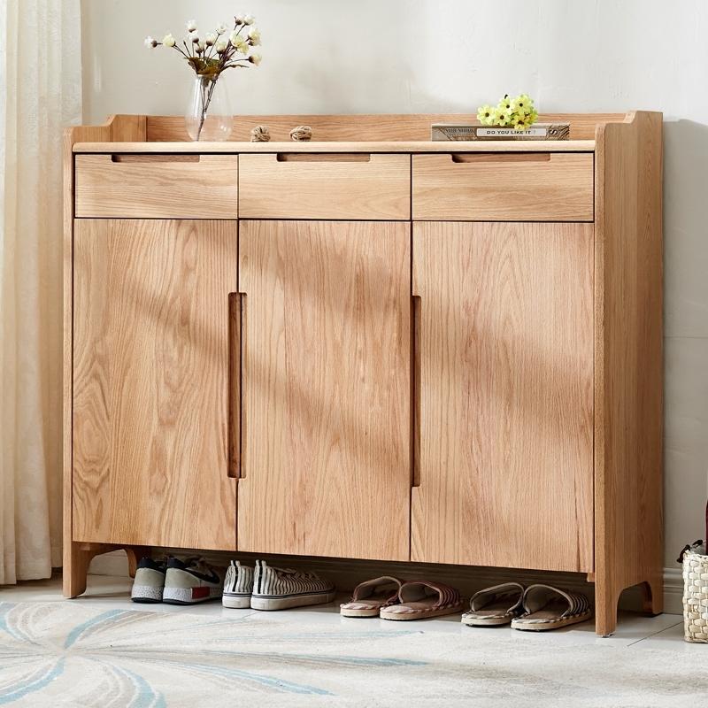 实木鞋柜门厅柜简约现代北欧客厅玄关柜纯实木中式收纳柜阳台柜子