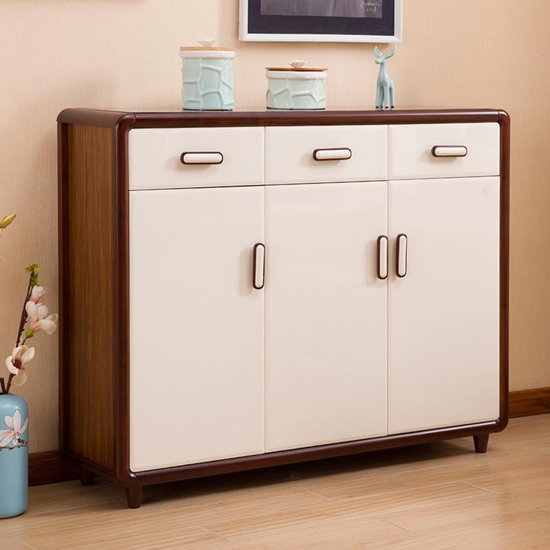 北欧超薄烤漆白色鞋柜实木简约现代门厅柜对开门玄关入户收纳组装
