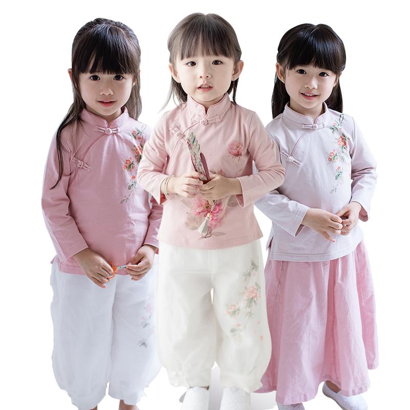 汉服女童秋装亲子母女装小女孩中国风衬衫宝宝童装民国风儿童旗袍
