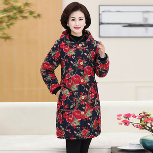Mother's wear long over the knee loose plus velvet thick warm cotton padded jacket women middle-aged and elderly winter cotton