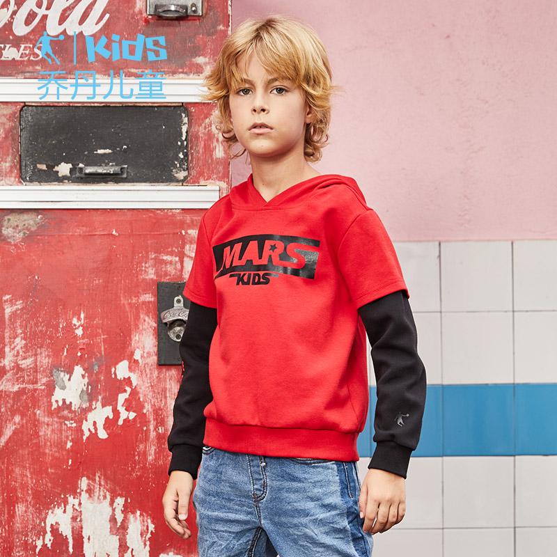 乔丹童装 中大童连帽卫衣2018新款儿童长袖T恤男童假两件套头上衣
