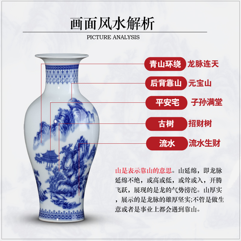 Jingdezhen ceramics three - piece furnishing articles Chinese blue and white porcelain vase sitting room porch rich ancient frame home decoration