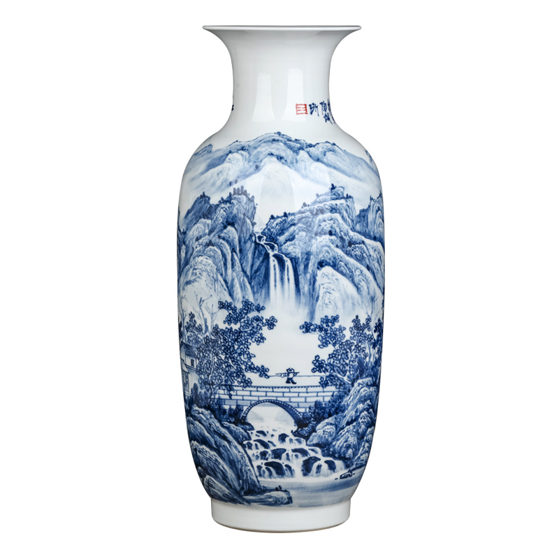 Jingdezhen famous scenery of blue and white porcelain vase hand - made ceramics furnishing articles sitting room flower arranging Chinese style household ornaments