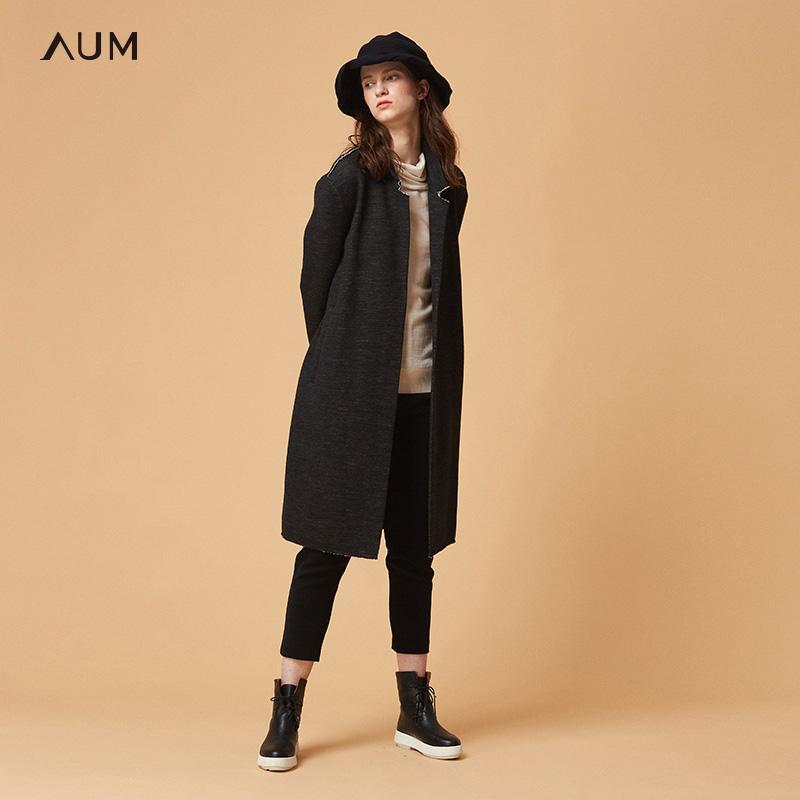AUM噢姆玛丝菲尔2018冬季新款九分袖立领毛呢大衣落肩袖女士外套